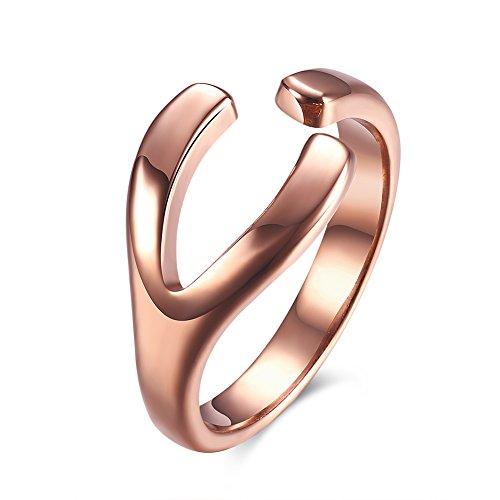 iSchmuck Edelstahl Ring Band Rose Gold Wishbone Gabel Y Design Hochzeit Offen Elegant Charm Charme Damen - Größe 52