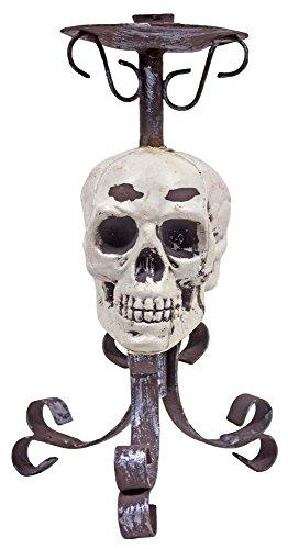 Das Kostümland Kerzenständer mit Totenkopf - 26 cm - Gruselige Piraten oder Halloween Partydekoration - Kerzenhalter