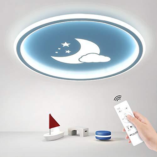 SHILOOK Deckenlampe Kinderzimmer Blau mit Wolke/Mond/Sterne für Jungen, LED Deckenleuchte Dimmbar Fernbedienung für Schlafzimmer 36W 3000K-6000K 2700LM, Rund 40X40CM