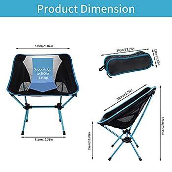 Chaise de camping portable compacte, ultralégère, pliable, très résistante, 150 kg, petite chaise de randonnée avec sac de transport pour la pêche, la randonnée, la plage