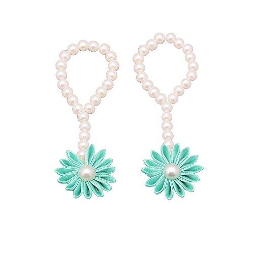 Vektenxi Nettes Baby-Perlen-Fußkettchen-Armband-barfüßigkleinkind-Fuß-Blumen-Kettenstrand-Sandelholze Wasserblau stilvoll und populär