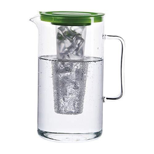 BOHEMIA CRISTAL Pichet avec insert à glace et couvercle en plastique Vert 2 l