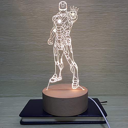 North cool Création Autrichienne Ère Manway 3D Iron Man Nuit Lampe Lampe LED Lampe USB Lampe De Chevet Lampe De Chevet Lampe De Chambre Cadeau D'anniversaire (Couleur : Rouge)
