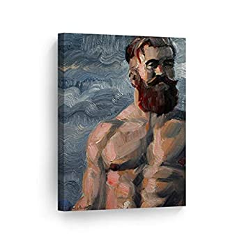 Smile Art Design Heavily Muscled Ginger Bearded Bear by Kenney Mencher Canvas Print Sexy Man Portrait Oil Painting LGBT Half Nude Gay Art Living Room Decor Bedroom Wall Art Ready to Hang - 28x19