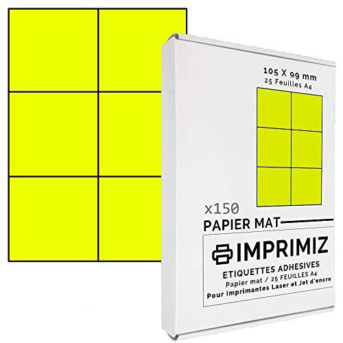 150 selbstklebende Etiketten neongelb von 105 x 99 mm - 6 Etiketten/Blatt - 25 Blatt A4 / Papier matt - Farbe - Für Inkjet/Laser/Kopier Drucker - Etiketten farbig