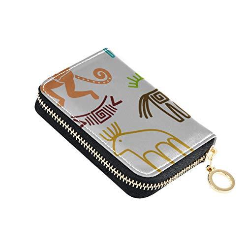 Mann Karte Brieftasche Kinder Zeichnung Süße Tiere Multitool Karte Brieftasche Pu Leder Reißverschluss Kompakte Größe Kleiner Kartenhalter Für Frauen Damen Mädchen Minimalistische Akkordeon Brieftasc