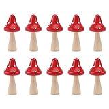 BESTonZON 10 Piezas Mini Figuras de Seta de Madera Accesorios de Jardín de Hadas Kit de Ornamentos Miniatura Casa de Muñecas Macetas Bonsai Micro Decoración de Paisaje