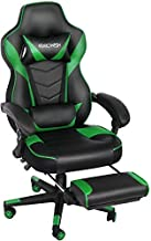 Ergonomic Computer Gaming Chair, Large Size PU Leather High Back Office Racing Chairs with Widen Thicken Seat and Retractable Footrest and Lumbar Support Video Game Chair 170 Degree Reclining (Green2)
