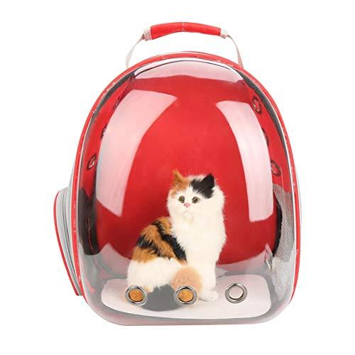 POPETPOP - Zaino per Cani e Gatti, con Capsula Trasparente, Colore: Rosso