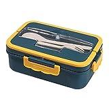 Paglia di Grano con forchetta e Cucchiaio Scomparto per Studenti Pranzo Scatola per microonde Blu 20 * 12 * 7,6 cm