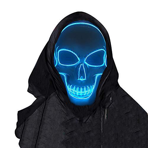 SOUTHSKY LED Maske Leuchtend Schädel Maske mit Led Licht Totenkopf Masken Vollmaske Neon Lichter Blinker EL Glowing 3 Modes Für Halloween Kostüm Cosplay Party (Blau)