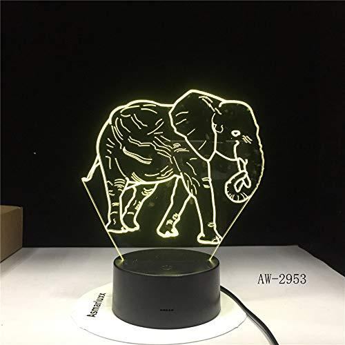 Un Elefante danzante con Siete Colores para la increíble ilusión Visual Visual de una luz Nocturna para la iluminación del hogar.