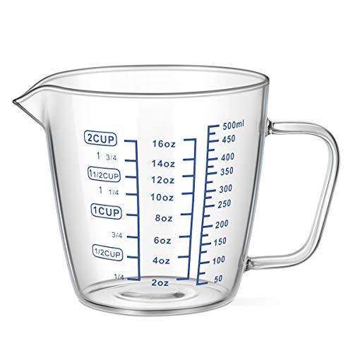 OUNONA 計量カップ 耐熱ガラス 測定カップ メジャーカップ 500ml 電子レンジ 食洗機対応