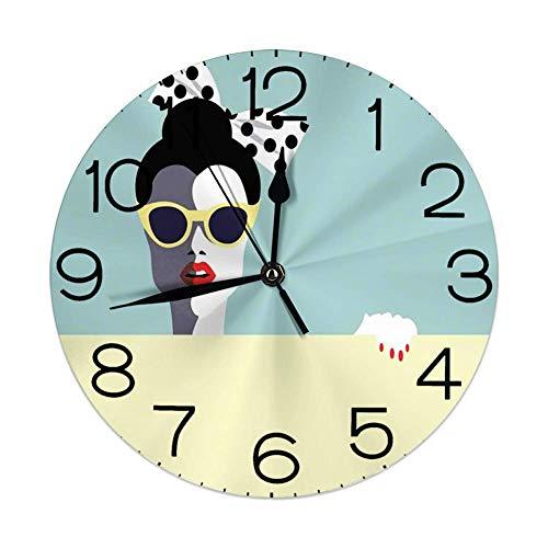 GoodLucke Reloj de Pared Redondo Decorativo, Hermosa Mujer Joven con Gafas de Sol en Estilo Retro Pop Art
