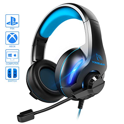YINSAN Xbox One Headset, PS4 Headset Surround-Stereo Gaming Kopfhörer mit Mikrofon LED Licht, Over Ear Soft Memory Ohrenschützer, kompatibel mit PC /PS4 /Xbox One/Switch, Blau