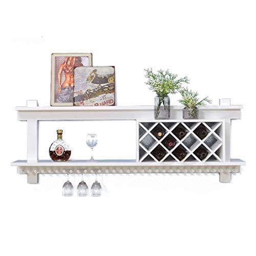 Estantería de vino Estante del vino, de la pared de madera maciza montura puede estar relacionado con los modernos soportes de pared for el hogar de bares, restaurantes, diversos tamaños, blanco estan