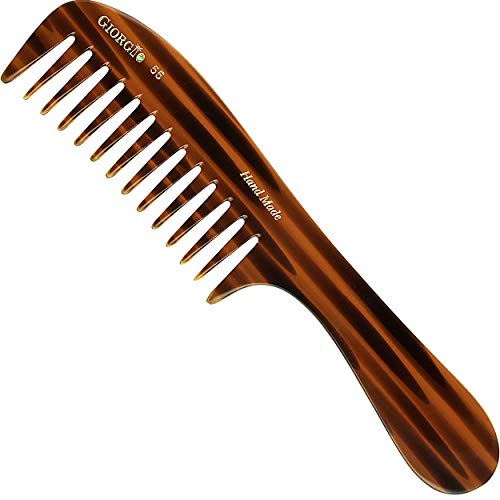 Giorgio G55 Large Coarse Hair Detangling Comb, Wide Teeth for Long Thick Curly Wavy Hair. Hair Detangler Comb For Wet and Dry. Handmade Rake Comb Saw-Cut from Cellulose Hand Polished Tortoise Shell