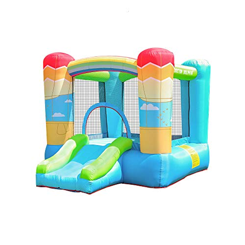 doctor dolphin Inflatable Bounce House for Kids Bouncy House with Blower Indoor Outdoor Jumping Bouncer with Castle Slide for Children Party Hotair Balloon Theme