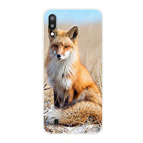 Homikon Silikon Hülle Karikatur TPU Tasche Handyhülle Transparente Durchsichtig Kirstall Clear Ultra Dünn Schutzhülle Stoßdämpfend Case Cover Kompatibel mit Samsang Galaxy M10 - Fox