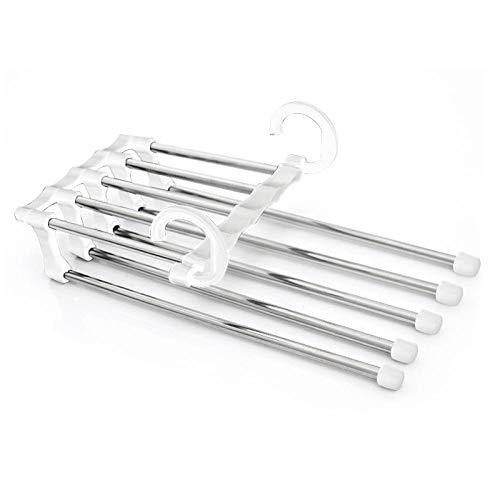 zhaoyangeng 5-In-1 Black White Broek Handdoek Sjaal Verstelbare Hangers Draagbare Multi-Functie Roestvrij Staal Broeken Hanger Organizer@White_France