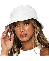 Bucket Hat Reversible Outdoor Beach Summer Cap for Women Men (White)