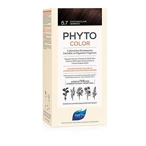 Phyto Phytocolor 5.7 Castano Chiaro Tabacco Colorazione Permanente senza Ammoniaca, 100 % Copertura Capelli Bianchi