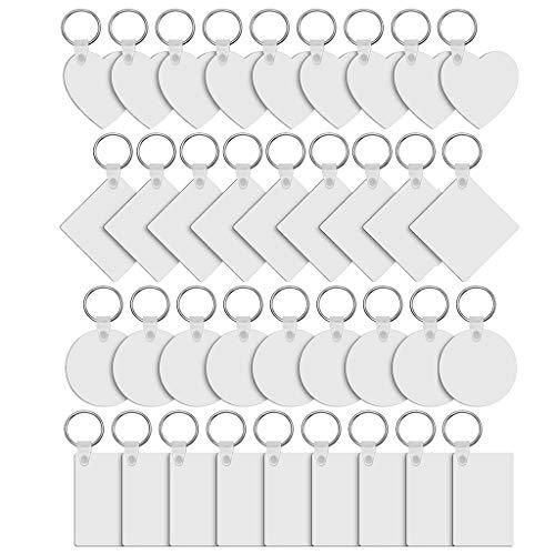 Laspi Llaveros -- 36 unidades de madera de tablero de fibra de densidad media en blanco llavero impreso de doble cara por sublimación, transferencia de calor, llaveros para fabricación de joyas