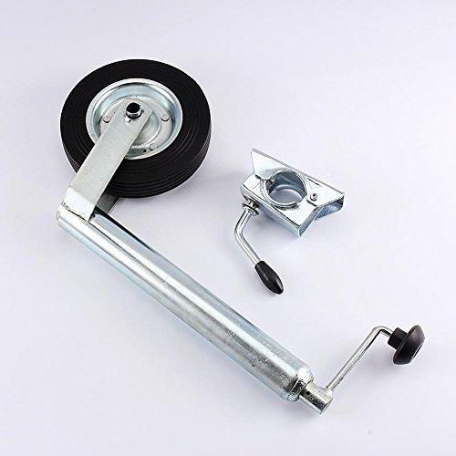 Rueda de soporte, Rueda de soporte para remolque en goma completa de 48 mm, capacidad de carga de 150 kg, con abrazadera completa dividida para el remolque