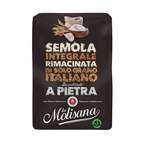 La Molisana Semola di Grano Duro Integrale, Solo Grano Italiano - 12 confezioni da 1kg (tot 12kg)