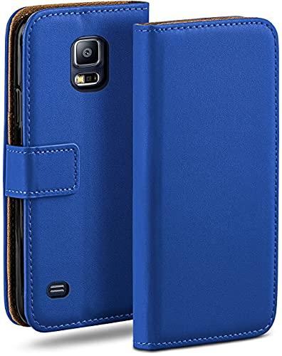 moex Klapphülle kompatibel mit Samsung Galaxy S5 / S5 Neo Hülle klappbar, Handyhülle mit Kartenfach, 360 Grad Flip Hülle, Vegan Leder Handytasche, Blau
