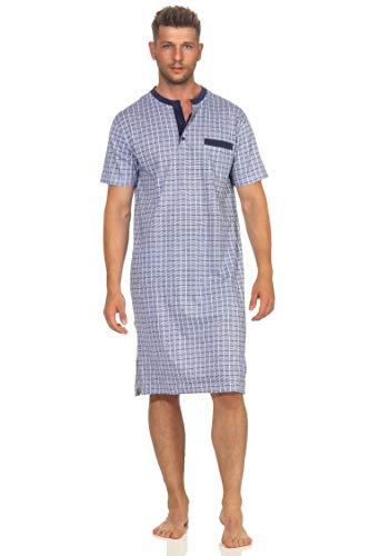 NORMANN-Wäschefabrik Herren Nachthemd Kurzarm in eleganter Karo Optik - auch in Übergrössen bis Gr. 70, Farbe:Marine, Größe2:56/58