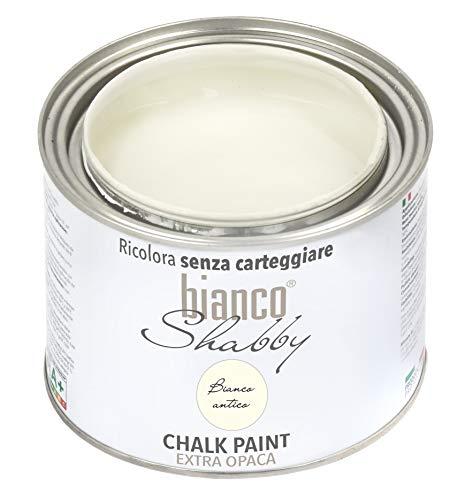 CHALK PAINT Bianco Antico Pittura Shabby Chic Vintage per Mobili e Pareti EXTRA OPACO (500 ml)