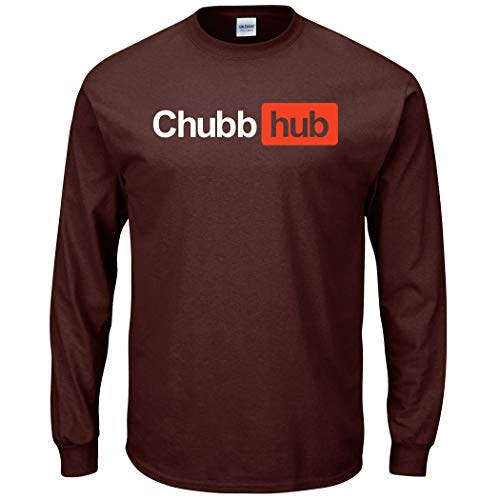 Smack Apparel Cleveland Football Fans. Chubb-Hub Brown T-Shirt (Sm-5x) (Long Sleeve, 2XL)