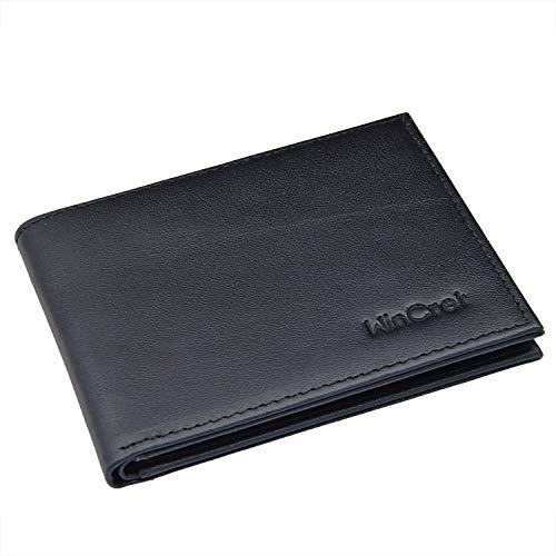 WinCret Portafoglio Uomo Sottile con Portamonete Visibile e Blocco RFID - Mini Wallet con tessere tascabile documenti - Portafogli pratica per uomo e donne