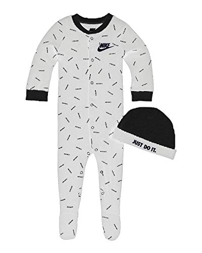 Nike Baby Coverall & Hat 2 Piece Set (White(56F266-001)/Black, 6 Months)