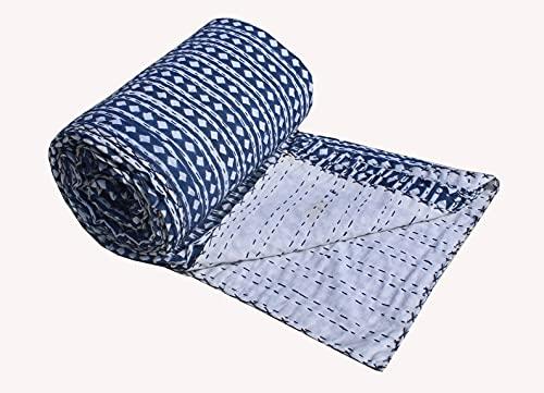 Charoli Enterprises Colcha de algodón azul grande con estampado de diamantes, colcha india para dormitorio, manta decorativa de Kantha