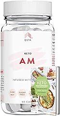 Keto Plus Actives AM (60 CAPS) - Quemagrasas potente y rapido para la dieta keto y low-carb, Quema grasas + Aceite MCT C8 + Vinagre de Sidra Manzana + Recetas Keto Mediterraneo +MEDICOS