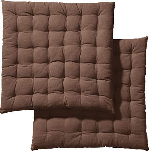 REDBEST Stuhlkissen, Stuhlauflage, Sitzkissen Uni 2er-Pack braun, Größe 40x40x3 cm - gesteppt, mit glatten, strapazierstarkem Gewebe, 100% Baumwolle (weitere Farben)