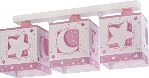 Dalber Moon Light Lámpara Plafón Techo Infantil 3 Luces MoonLight Rosa, 60...