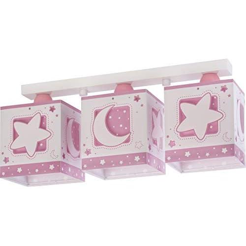 Dalber - Lampada da soffitto E-27, Chiaro di luna rosa, Multicolore, 48 x 12.5 x 20.5