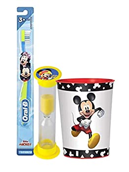 Mickey Mouse 3pc Toddler Training Oral Hygiene Bundle! Soft Manual Toothbrush Brushing Timer & Mouthwash Rinse Cup! Plus Dental Gift Bag & Tooth Saver Necklace!