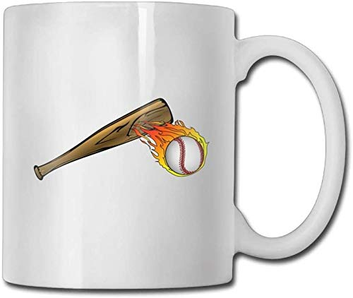 JUKIL Becher Flame Baseball Fire With Bat Coffee Mugs 11 Oz Anniversary Gift Ceramic Tea Cup A perfect gift for your family and friends
