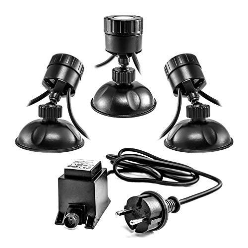 CLGarden Unterwasser LED Teichbeleuchtung Set S3UWS4 Miniteich Beleuchtung Strahler Unterwasserbeleuchtung Teich 12V