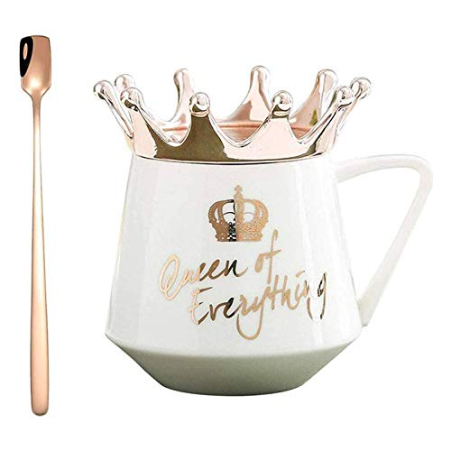 Queen of Everything Tasse mit Krone,Krone Tasse nordischen Stil,Tassen mit Deckel, Kronen-Motiv, Milch-/Kaffeetasse, Tasse Keramik Mädchen Geschenk für Kaffee Wasser Frühstück Weiß