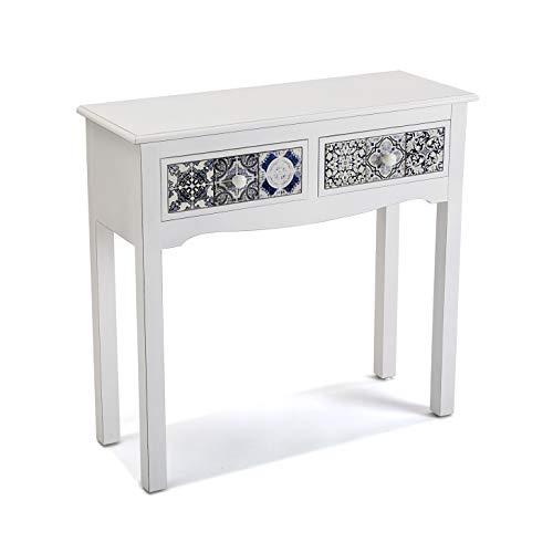 Versa Pireo Mueble Recibidor Estrecho para la Entrada o el Pasillo, Mesa Consola, con 2 cajones, Medidas (Al x L x An) 78 x 30 x 81 cm, Madera MDF, Color Blanco