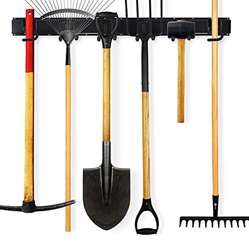 Garage Tool Organizer Wall Mount Rack - Yard Tools Storage Hooks – Heavy Duty Powder Coated Steel Rails with 6 Utility Hooks