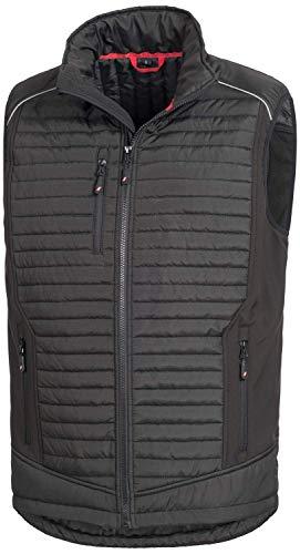Nitras Motion Tex Plus - Chaleco de Softshell Negro para Hombre y Mujer - Chaleco Acolchado con Cortavientos - Chaleco de Trabajo con Bolsillo en el Pecho y Bolsillos Laterales Negro XL
