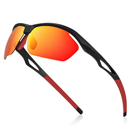 Avoalre Fahrradbrille Sportbrille Winddicht Fahrrad Sonnenbrille Anti UV400 fahradbrille Herren Sonnenbrille Polarisierte Brille Angeln mit Rahmen TR90 Super Light(Rot)