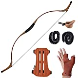 Huntingdoor Archery 55'' Traditional Recurve Bow Hunting Longbow Mongolian Horsebow Right or Left Hand Real Leather Handmade 30-60lbs