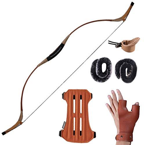 Huntingdoor Handmade Recurve Archery Bow Hunting Longbow Mongolian Traditional Horsebow 30-60LBS (60)